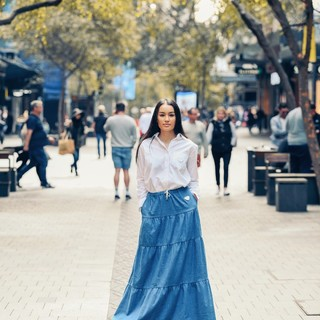 Joey Shirt Adult and Flamenco Skirt Sky are versatile enough to be worn for both daytime and nighttime looks.  Tap to view the products! Visit Shopee or our official website to find for more collections.   www.aaronandnoraa.com  #ethicalclothing #ethicalstyle #ethicalootd #ethicalbrand #ethicalshopping #ethicalliving