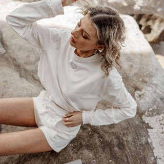Beauty begins the moment you decide to be yourself - Coco Chanel  In frame: Crop Jumper and Lola Hot Pants in Gardenia  Tap to view the products or head over to our website to shop. Link on bio!  www.aaronandnoraa.com  #sustainableluxury #sustainableclothing #sustainablebrand #sustainableshopping  #sustainableproducts #aaronandnoraa